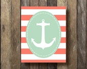 Nautical Decor - Anchor Printable - 8x10 Instant Download - Nautical Nursery Print - Mint and Coral - Nautical Wall Art - Coral and Mint