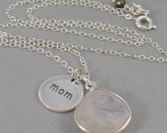 Moonstone Mom, Necklace,Sterling Silver Necklace,Moonstone,Mom,Engraved Mom,Moonstone Necklace,Mom Charm,Mother's Day,Mom,SeaMaidenJewelry