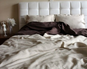 Linen Full / Double / Queen Duvet Cover Set Natural Oatmeal and Brown color Quilt Cover with pillowcases Ribbon Bow Tie Closure
