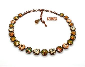 WOODLAND 12mm Crystal Rivoli Choker Discontinued Crystal Copper Swarovski Elements *Pick Your Finish *Karnas Design Studio *Free Shipping*
