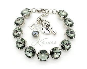 BLACK DIAMOND 12mm Rivoli Crystal Bracelet Made With Swarovski Elements *Pick Your Finish *Karnas Design Studio *Free Freight*