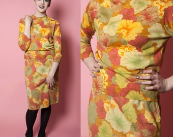 Feder Fashions Bold Cotton Floral Two Piece Knit Set 1960's