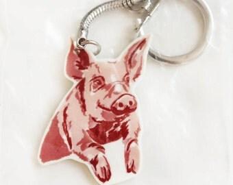 Pig animal keyring