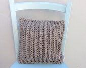 Crocheted Pillow, Beige, Nature Colors, Decorative Pillow, Square Pillow, Home Decor