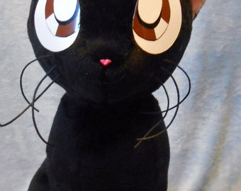 Sailor Moon Sailormoon inspired black cat sitting Luna plushie (approx 32 cm high) plush for cosplay 1:1 scale to show size made of minky