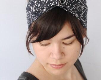 Bandana Turban Headband, Black Boho Turban Headwrap