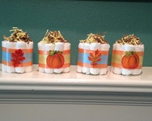 Set of 4 Autumn Mini Diaper Cakes, Pumpkin Fall Leaves Shower Decorations, Pumpkin Baby Shower Centerpieces, Baby Shower Decorations