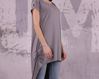 Asymmetrical gray tunic top with short sleeves, loose tunic, tunic top - 044
