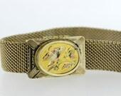 Vintage Gold Filled Bracelet Chainlink Band with Engraved Moth