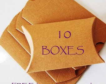 10 pillow boxes, Kraft pillow boxes, wedding favor boxes, jewelry boxes, packaging