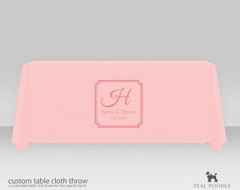 Personalized Wedding Table Cloth Throw With Free Wedding Logo Perfect for Wedding Present Table