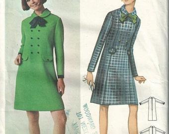 Vintage 1960s Butterick 4518 Sewing Pattern - mod one piece dress