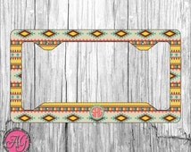 Custom License Plate Frame  - Add your initials - Aztec/Tribal Pattern