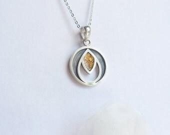 Pendentif argent et feuille d'or - Fait à la main - Silver and gold leaf pendant - Handmade Round necklace