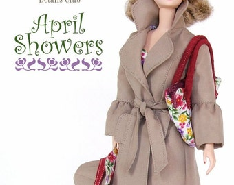 "Sewing pattern for 11 1/2"" doll (Barbie): Modern Trench Coat"
