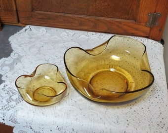 Anchor Hocking Chip and Dip Set in Amber