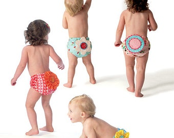 Sewing Pattern - Baby Flower Butt  Diaper Covers in Four Views Kwik Sew # K4052
