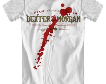 Dexter Morgan: American Butchery White T-Shirt (with blood spatter)