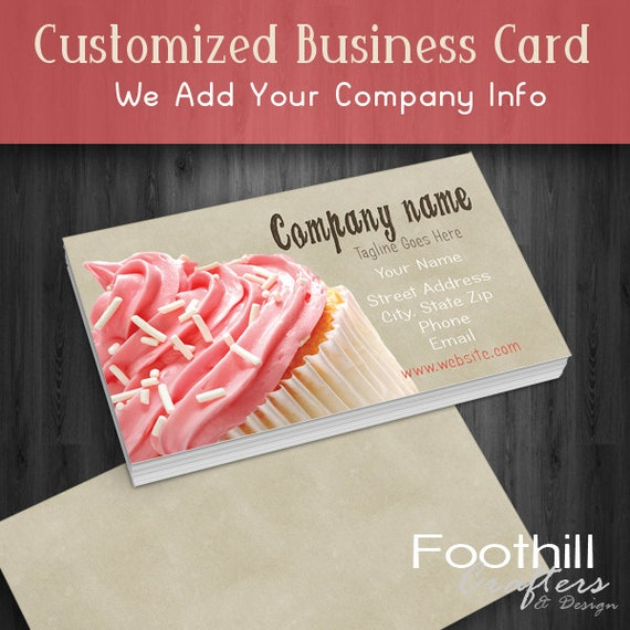 Foothill crafters design premade business card design pink premade business card design pink cupcake bakery sweets professional branding customize with company name and info bakery shop colourmoves