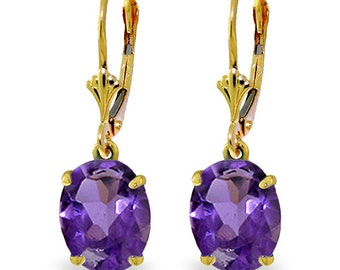 6.25 Carat 14k Solid Gold Encourage Amethyst Earrings (Yellow Gold, White Gold, Rose Gold)