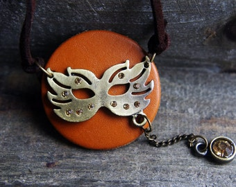 VINTAGE STYLE COLLECTION:Mask charm on tan leather pendant necklace, vintage style jewellery,Christmas gift. birthday gift,graduation gift