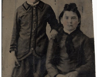 sisters antique tintype photograph