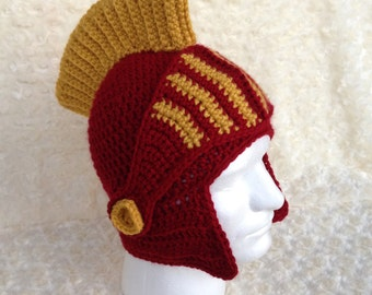 Handmade Crochet USC Trojans Helmet with Removable Faceguard ** Made to Order**