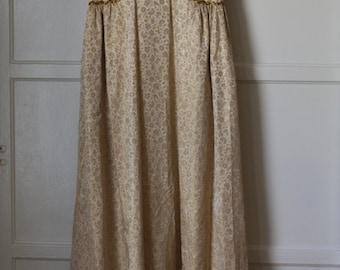 SALE!!! 20% OFF 60s GOLD Brocade Evening Dress Empire Waist Beautiful Bead Sequin Accents Renaissance Formal Floor Length Maxi Wedding 1960s