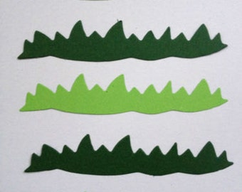 40 long Green Grass Die cuts for cardmaking, card toppers scrapbooking *3 shades of green* mixed pack