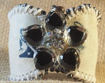 cuff ,bracelet ,cristals ,bidds ,leather