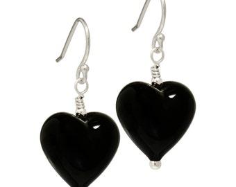 black Murano Glass earrings | black heart earrings | sterling silver french hooks