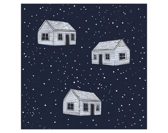 Tiny Houses in Space - 8 x 8 Contemporary Illustration - Print - FREE US SHIPPING