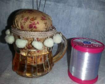 SALE!!  Pincushion in a tiny vintage glass cup-retro-vintage-handmade-unique