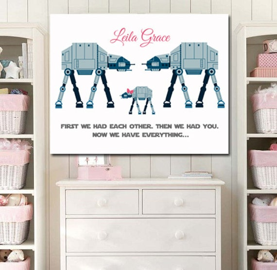 items similar to new baby newborn star wars kids art girl. Black Bedroom Furniture Sets. Home Design Ideas