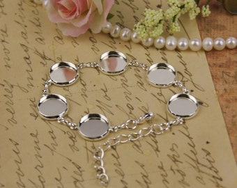 Photo Jewelry Making Silver Plated Bracelet with Circle Bezels - for Photo Jewelry,Glass, Glaze, Resin ,Epoxy, fit 12mm Cabochon gb10s