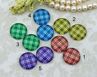 12mm,16mm,20mm cab Mix Vintage check Handmade photo glass cabochon 12G094