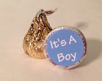 Just Blue ~ Its A Boy ~ 108 Hershey Kiss Candy Label Stickers