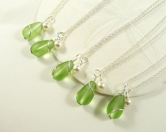 Green sea glass bridesmaids jewelry set sea glass earrings sea glass necklaces beach wedding destination wedding summer wedding gift sets