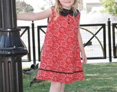 Girls Red Bandana Print 1960's Vintage Inspired Rockabilly Dress with Sequin Peter Pan Collar with Rick Rack and Button Accent