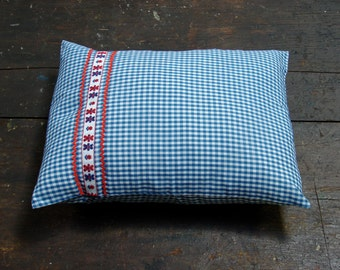 Classic Medium Blue Gingham with Teddy Bear Trim Baby Pillow Case and Travel Pillow