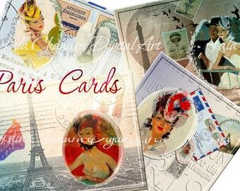 Paris Cards INSTANT DOWNLOAD printable sheets Decoupage papeR Scrapbooking