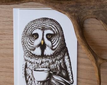"OWL with Coffee Art Card // 5x7 Frameable Card w/Envelope // ""Mornin"""