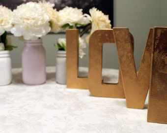"8"" Gold ""LOVE"" Letters- Perfect for Wedding Decor, Home Decor, and Valentine's Decor!"