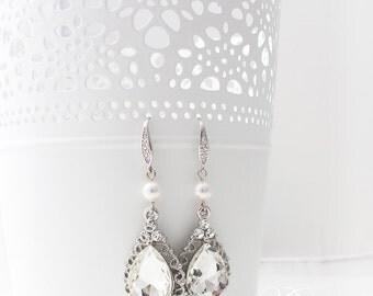 Wedding Jewelry Wedding Earrings Bridal Earrings Rhinestone earrings Dangle Earrings Teardrop Earrings Zircon Ear-wires - TECA