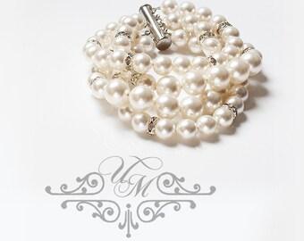 Wedding Jewelry Swarovski Pearl Bracelet Four strands Pearl Rhinestone Bracelet Bridal Jewelry Bridesmaids jewelry Banquet Jewelry - NATALIE