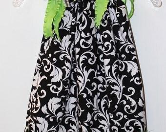Pillow Case Dress & Bow:  Black Damask, Lime Green 4T