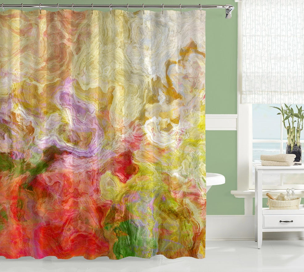 Contemporary shower curtain abstract art bathroom decor red for Paintings for bathroom decoration