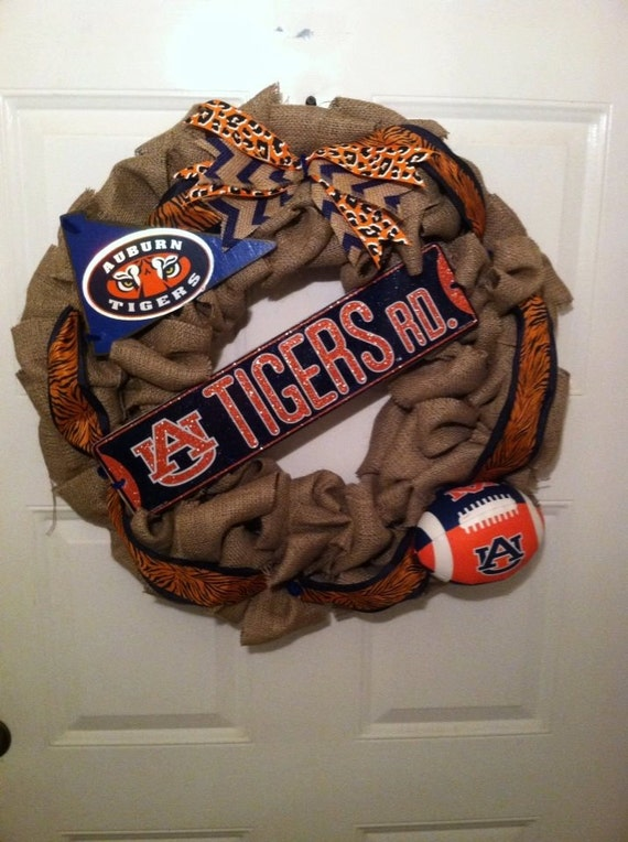 Auburn Tigers Burlap Wreath, Auburn Collegiate Wreath, Gus Bus Wreath, Tigers Burlap Wreath, Tigers Collegiate Wreath, Auburn Burlap Wreath