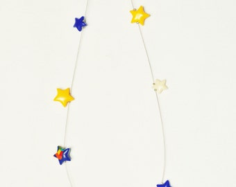 star necklace polymer clay, star necklace,jewlery, small star necklace, summer necklace, polymer clay ,blue yellow necklace, minimalist