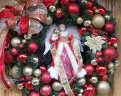 Christmas Angel Wreath, Designer Christmas Wreath, Holiday Wreath, Red, White, and Gold Elegant Christmas Wreath
